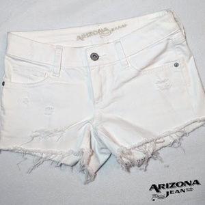 Arizona distressed white shorts